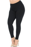 45 degree view of Black Buttery Soft High Waisted Plus Size Basic Solid Leggings - 5 Inch Band