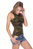 45 degree view of Brushed Green Camouflage Mock Neck Bodysuit pictured with shorts pulled down to show off the bottom half of the one piece.