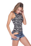 Right side of Brushed Zebra Print Mock Neck Bodysuit showing shorts pulled down to show off the bottom half of the one piece
