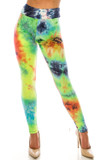 Front side image of Buttery Soft Summer Yellow Tie Dye High Waisted Leggings with a vibrant multi-colored design.