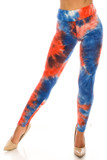 Front side image of Buttery Soft Red and Blue Tie Dye High Waisted Leggings with a blue and red design with white accents.
