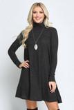 Charcoal Long Sleeve Hacci Knit Mock Neck Swing Dress
