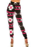 Front view of Buttery Soft Magenta Aztec Tribal Joggers showing off an eye-catching geometric design in a black, white, and bright pink color scheme.