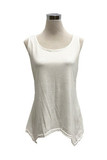 White Basic Solid Round Neck Relaxed Fit Tank Top