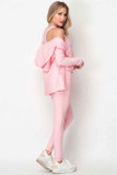 Right side of Pink Pastel 3 Piece Scrunch Butt Leggings Tank Top and Hooded Jacket Set showing the jacket draped off the shoulder