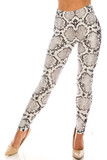 Front of Creamy Soft Ivory Python Extra Leggings - Plus Size - 3X-5X - USA Fashion™ featuring an all over white and black accented reptile print design.