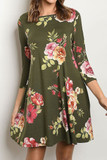 Front of 3/4 Sleeve Olive Floral Boat Neck Mini Dress with a gorgeous pink and light brown flower design.