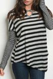 Front of Grey/Black Crisscross Keyhole Mixed Stripe Asymmetrical Hem Long Sleeve Top
