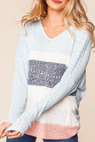 Front of Heathered Color Block Ribbed Long Sleeve V-Neck Top featuring a baby blue, navy, and blush pink design.