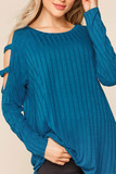 Front of Teal Long Sleeve Shoulder Cut Out Rib Knit Top