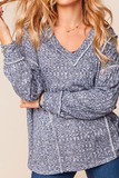 Front of Two Tone Long Sleeve Outside Seam Rib Knit V-Neck Top - Plus Size