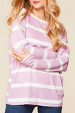 Front of Long Sleeve Lilac and White Striped Round Neck Top - Plus Size