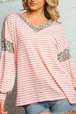 Front of Blush Pink Striped Leopard Print Accent Long Sleeve V-Neck Top - Plus Size with a pink and white striped design and spotted animal print arm and neck accents.