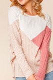 Front view of Angular Color Block Rib Knit Plus Size Dolman Sleeve Top with a fabulous taupe, mauve, and ivory design.