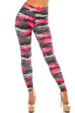 Front side image of Pink Camouflage Sport Active Plus Size Leggings with a black and white army print design with bright fuchsia accents.