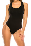 Front of black Seamless Basic Bodysuit with Snap Closure with a round scoop neck.
