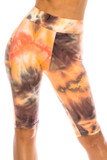 Front of Buttery Soft Creamsicle Tie Dye High Waisted Biker Shorts - 3 Inch Waist with a gorgeous orange, brown, and white accented tie dye design.