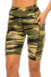 Front of Green Camouflage High Waist Sport Biker Shorts with Pockets featuring a classic olive toned army design.