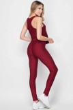 Right side of Burgundy 2 Piece Scrunch Butt Leggings and Tank Top Set