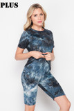 45 degree/right side image of 2 Piece Buttery Soft Navy Tie Dye Biker Shorts and T-Shirt Set - Plus Size
