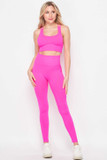 Front of Pink 2 Piece Seamless High Waisted Leggings and Sports Bra Set