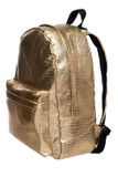 45 degree view of Gold Crocodile Faux Leather Backpack
