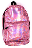 Front of Shiny Pink Metallic Backpack with a small front zip up compartment and a large main zipper compartment