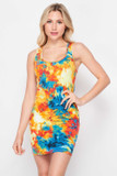 Front side image of Yellow Tie Dye Bodycon Summer Dress with a fabulous and colorful desin