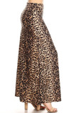 Right side of Buttery Soft Feral Cheetah Plus Size Maxi Skirt with an all over spotted animal print design.