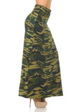 Right side of Buttery Soft Green Camouflage Maxi Skirt with a trendy all over army print design