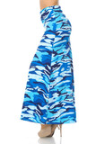 Left side of Buttery Soft Blue Camouflage Plus Size Maxi Skirt with a monochromatic all blue army print design.