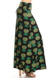 Right side of Buttery Soft Green Pineapple Maxi Skirt with a fun and fabulous tropical fruit design.