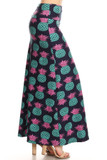 Right side of Buttery Soft Teal Pineapple Plus Size Maxi Skirt with a fun and fabulous tropical fruit design.