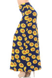 Left side of Buttery Soft Summer Daisy Plus Size Maxi Skirt featuring a gorgeous yellow flower design on a navy background