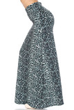Left side of Buttery Soft Snow Leopard Maxi Skirt with a sassy spotted animal print design.