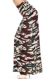 Left side of Buttery Soft Cozy Camouflage Plus SIze Maxi Skirt with an always in fashion army print design.