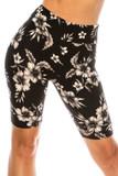 Buttery Soft Monochrome Floral Biker Shorts - 3 Inch Waist Band