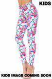 Creamy Soft Pink and Blue Sunshine Floral Kids Leggings - USA Fashion™
