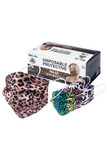 Image of box of Colorful Leopard Disposable Surgical Face Mask - 50 Pack with all 5 styles shown.