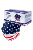 Box for USA Flag Disposable Surgical Face Mask - 50 Pack pictured with a mask.