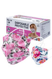 Image of Floral Rose Bloom Disposable Surgical Face Mask - 50 Pack - 2 Styles shown with box