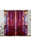 """Image of City Night Lights Digital Print 2 Panel Curtain Set - 27"""" x 90"""" with a gorgeous design on street lamps and twinkle lights in a city setting."""