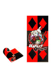 Flat and rolled up view of Harley Quinn Oversized Cotton Beach Towel with a black and white diamond design and Harley and Joker in the middle.