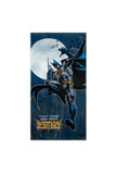 Flat view of Fight Crime Batman Oversized Cotton Beach Towel with a super cool laser print of Batman in front of a moon.