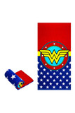 """Flat and rolled up view of Wonder Woman Logo Oversized Cotton Beach Towel with a red and blue design featuring the yellow Wonder Woman """"W"""" in the middle."""