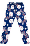 Flat front view of Buttery Soft Major League Baseball Kids Leggings with an all over baseball print with sporty text  and white stars on a navy background.