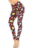 45 degree view of Buttery Soft Everything Trick or Treat Plus Size Leggings with a fun colorful Halloween themed print including eyeballs, jack-o-lantern buckets, candy, bones, vampire teeth, and more on a black background.