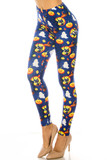 45 degree view of Creamy Soft Halloween Critters Plus Size Leggings - USA Fashion™ with a cute and creepy design featuring bats, ghosts, jack 'o lanterns, black cats and more in a colorful cartoon style.