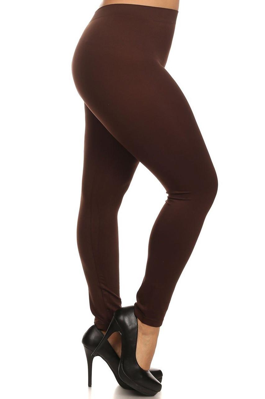 Brown Full Length Nylon Spandex Leggings - Plus Size