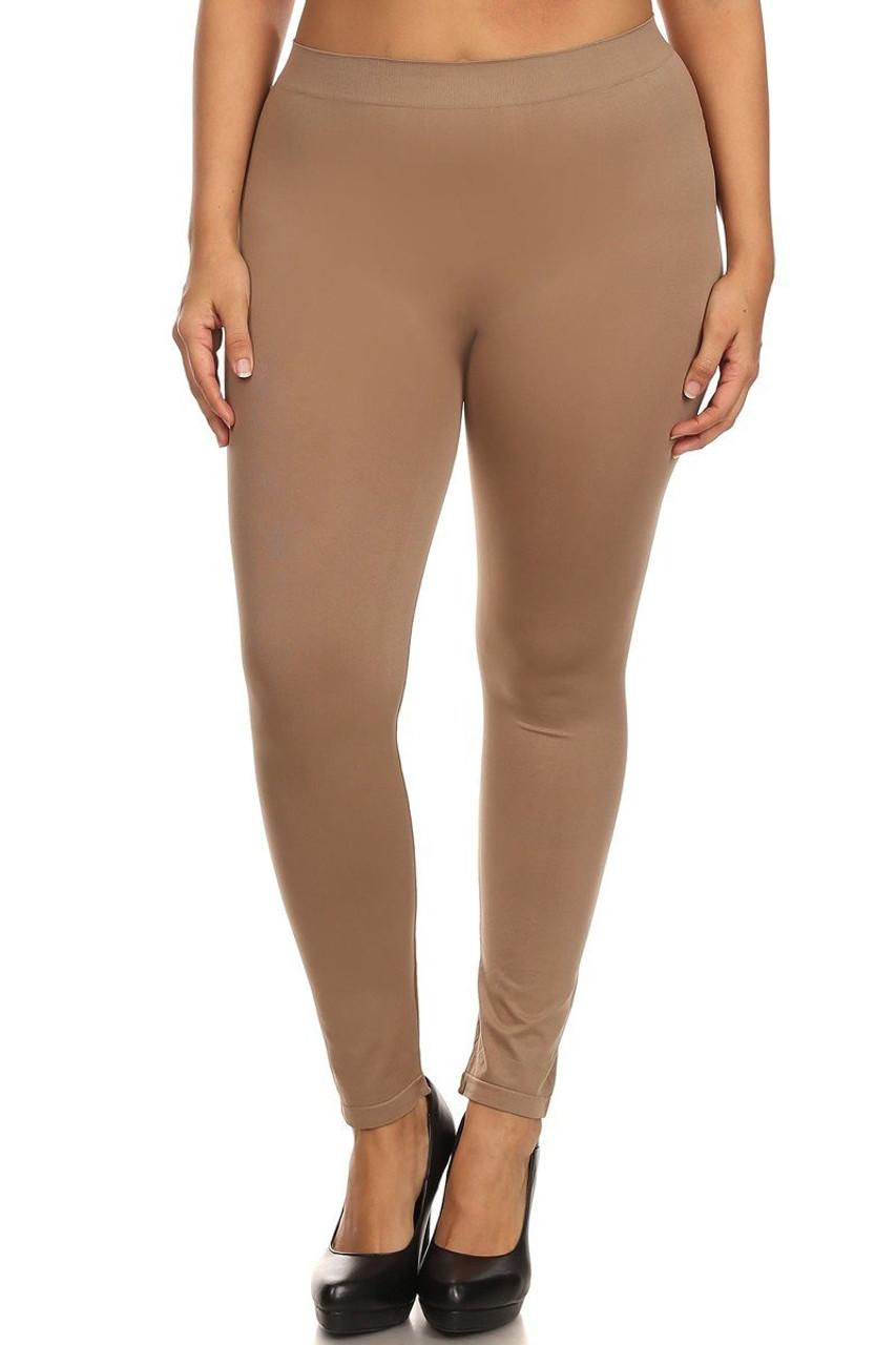 Mocha Full Length Nylon Spandex Leggings - Plus Size